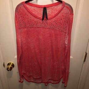 SEVEN7 long sleeved burnout tee with rhinestones
